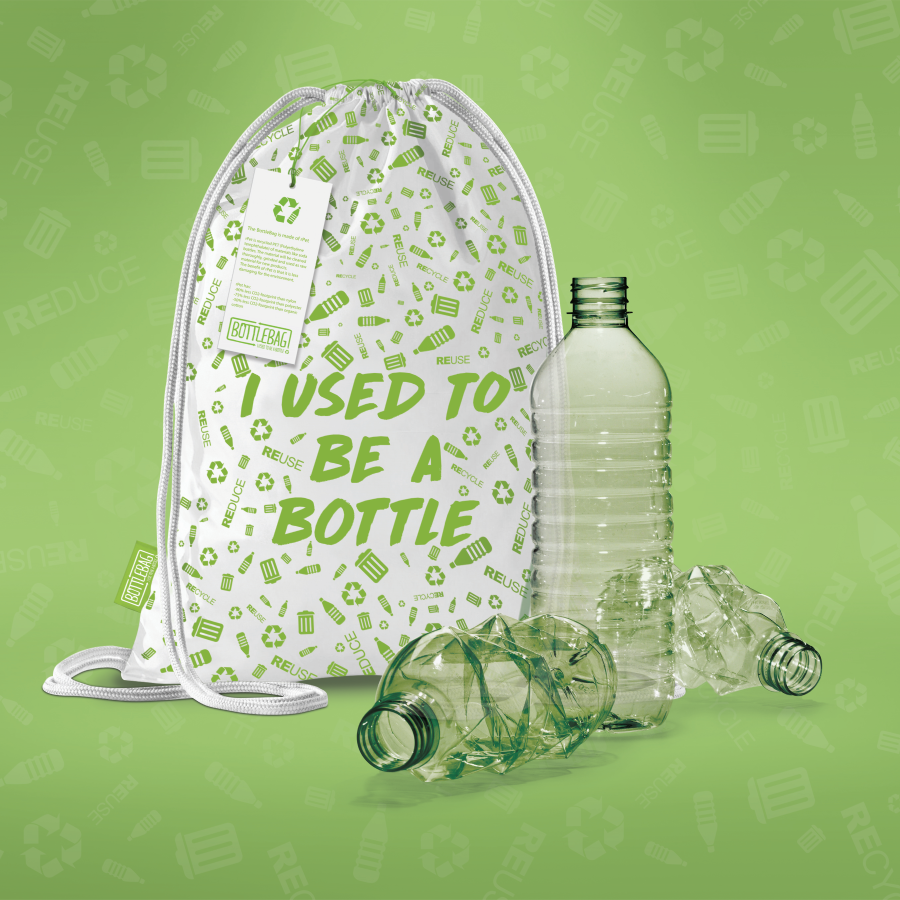 BottleBag Pack, bedrukte gerecyclede tas
