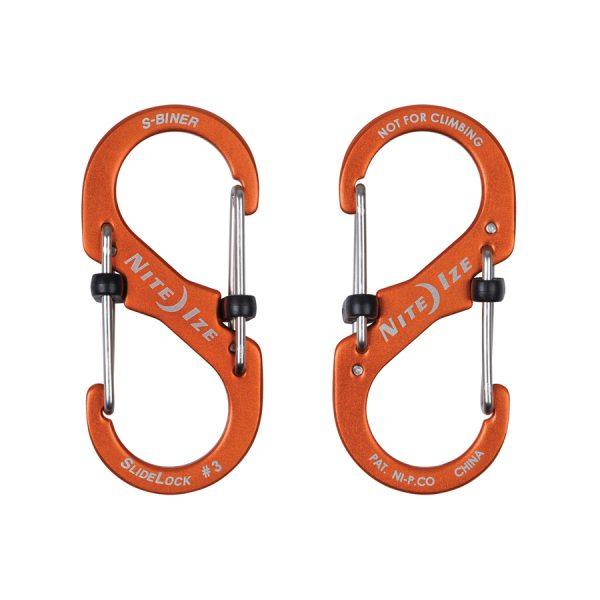 S-haken in allerlei kleuren en maten(Nite Ize S-Biner #3 Slidelock Aluminium Orange)
