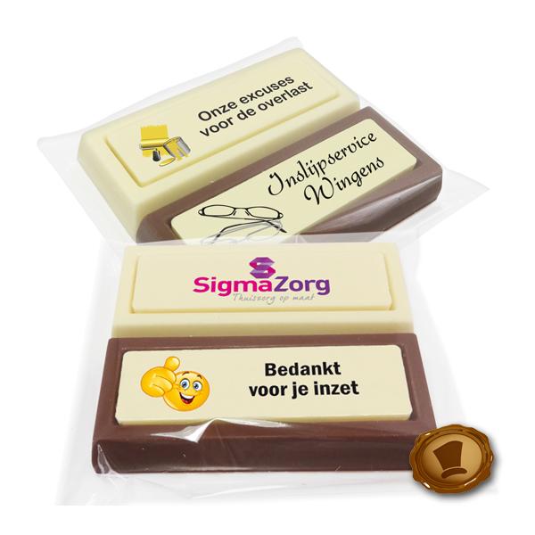 Chocolade *Blokken* per 2 stuks met bedrukking