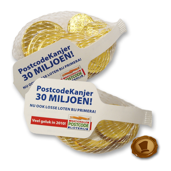 Chocolade logo muntjes in netje