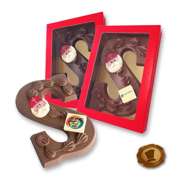 Luxe chocoladeletter met logo