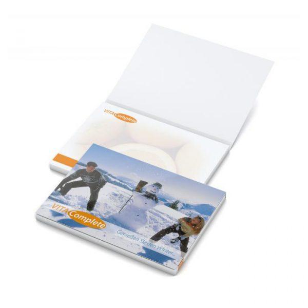 Memoblok met cover 72x73 mm. individueel bedrukt