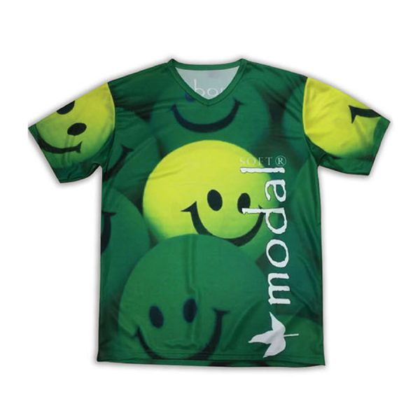 Sublimation printed T-shirt with V collar