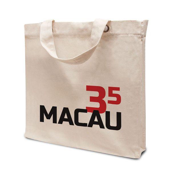 Bedrukte boodschappentas Macau met plooien