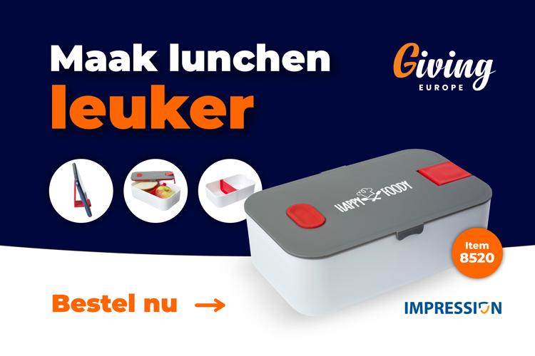 Lunchbox met telefoonstandaard