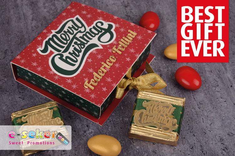 Mini box with christmas chocolates E-seker