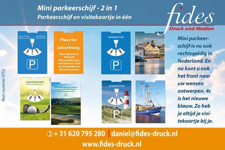 Mini parkeerschijf & visitekaartje - 2 in 1